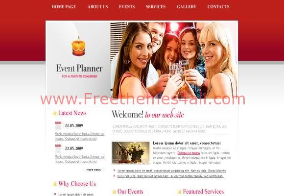 Free CSS Event Party Red Web2.0 Template