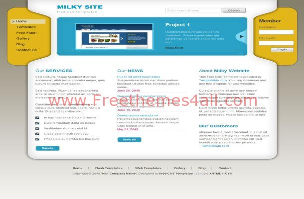 Free HTML Yellow Blue Business CSS Website Template