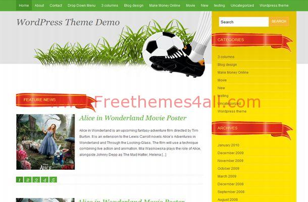Free WordPress Soccer Yellow Green Theme Template