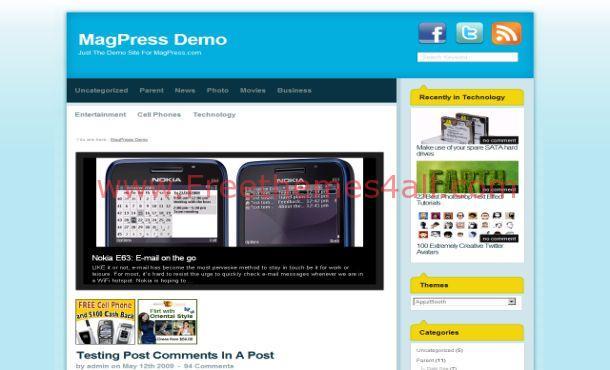 News Press Magazine Blue WordPress Theme