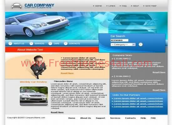 Free Cars Company Website Web2.0 Template