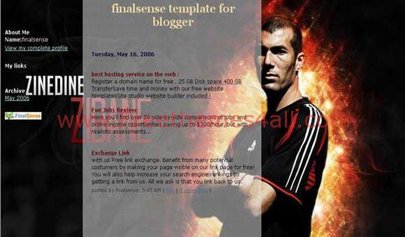 Free Blogger Zidane Soccer Black Fire Template