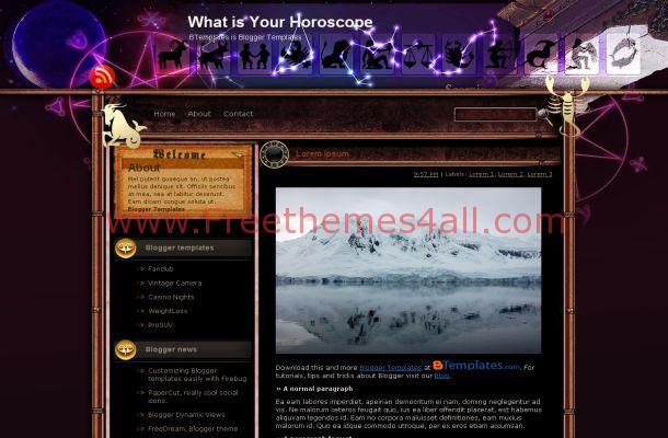 Free Blogger Horoscope Blog Purple Theme Template
