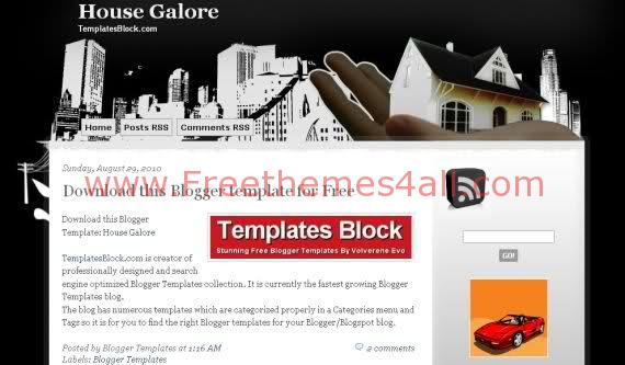 Free Blogger House Galore White Black Template