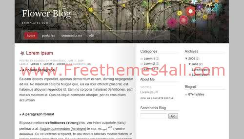 Free Blogger Grey Flowers Blog Web2.0 Template