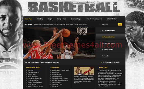 Grunge Black Basketball Free Joomla Theme
