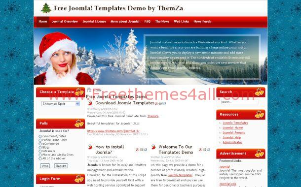 Free Blue Red Christmas Joomla Theme Template