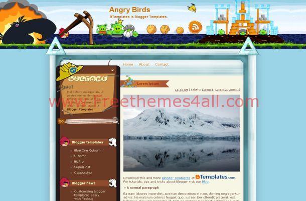Free Blogger Birds Theme Blue Nature Template