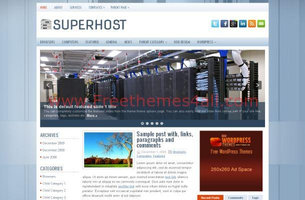 Free Blue WordPress Hosting Theme