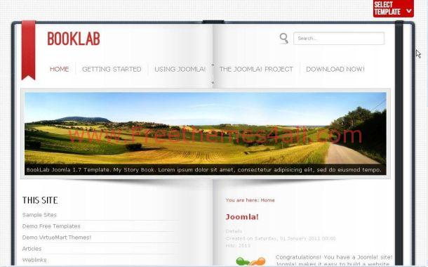 Free Grunge Red Book Joomla Theme Template