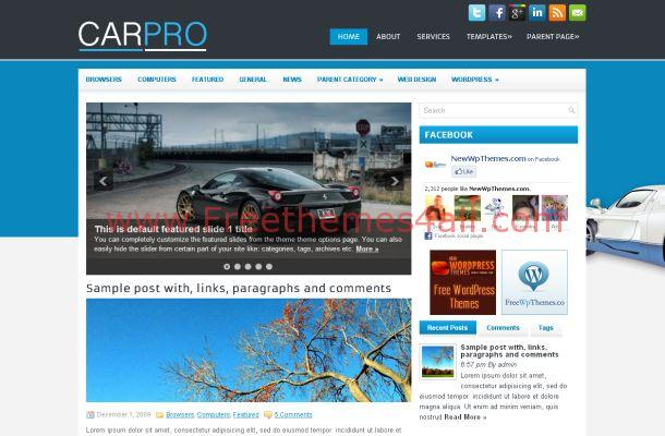 Free News Blog Wordpress Cars Theme Template