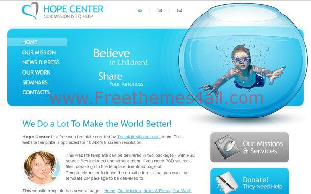 Free Charity Foundation Blue CSS Website Template