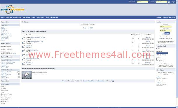 Facebook Php Fusion Theme Freethemes4all