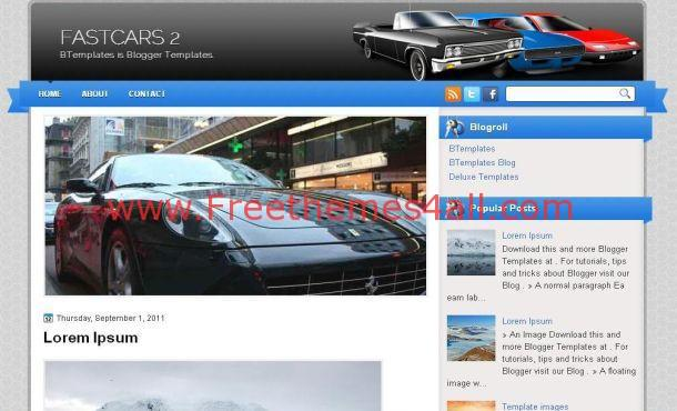 Fast Cars Blue Grunge Blogger Layout Template