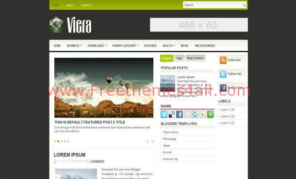 Free Jquery Gray Green Blogger Template