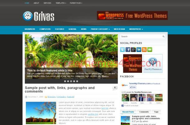 Free Business Grey Blue WordPress Theme
