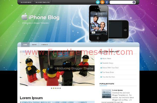 Free Colorful Blogger Iphone Theme Template