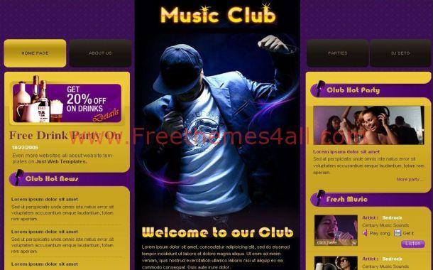 free violet grunge music css website template download. Black Bedroom Furniture Sets. Home Design Ideas
