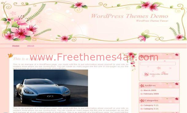 Pink Flowers Wordpress Theme Template