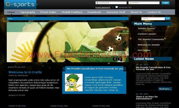 Black Soccer Joomla Theme