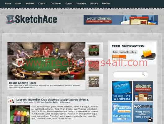 Sketch Ace Poker Casino WordPress Theme