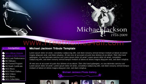 Purple Black Michael Jackson Website Template