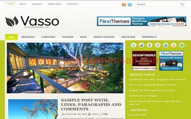 Free Green Chrome Jquery WordPress Theme Template