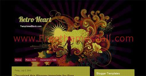 Retro Heart Vector Blogger Template