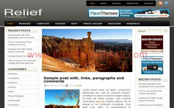 Free Dark Black Gray Jquery WordPress Template