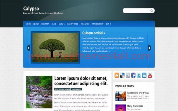 Free Blue Jquery Chrome WordPress Theme Template
