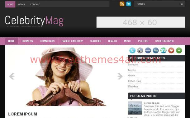 Free Celebrity Pink Black Blogger Theme Template