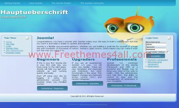 Free Fish Blue Ocean Joomla Theme Template
