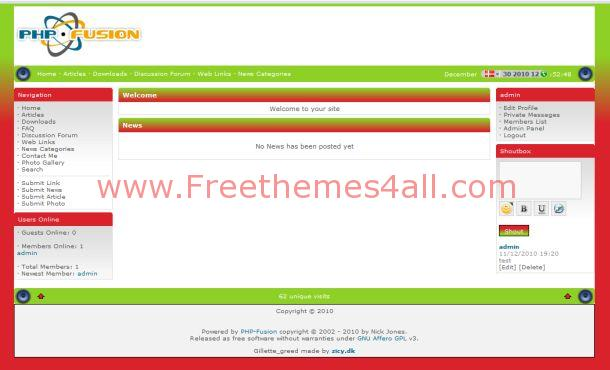 Fresh Red Green Php-fusion Theme
