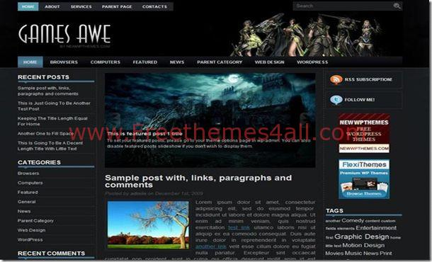 Free Anime Games Black Jquery Wordpress Theme - Freethemes4all