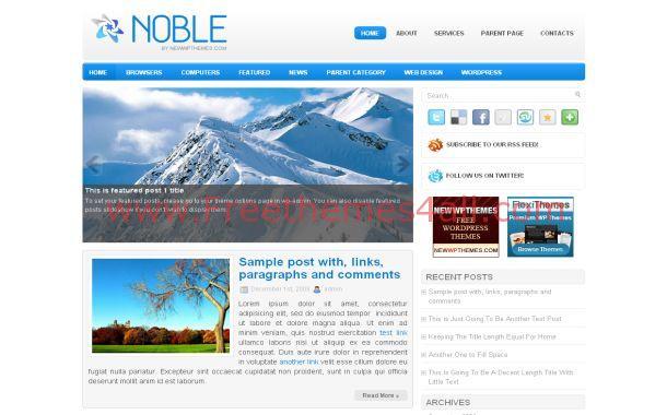 Free WordPress Ice Theme Blue Blog Template