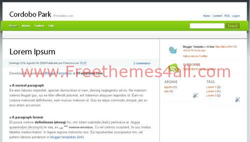 Free Blogger Green Park Music Web2.0 Template