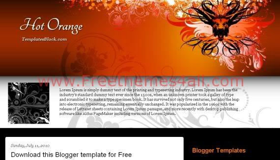 Hot Orange Black Vector Blogger Template