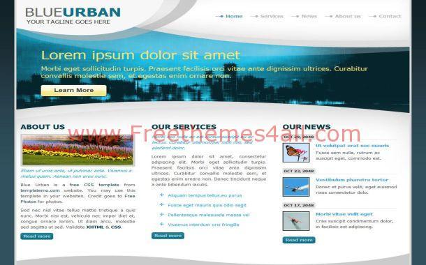 urban city blue black free html website template. Black Bedroom Furniture Sets. Home Design Ideas