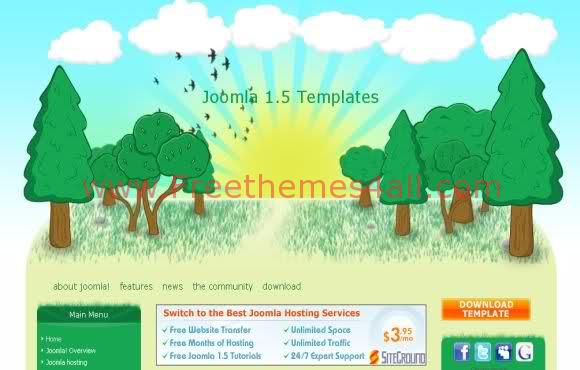 Free Joomla Summer Forest Web2.0 Template
