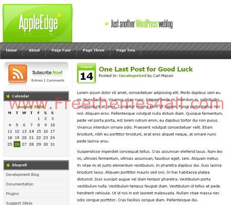 Free WordPress Apple Green Web2.0 Theme Template