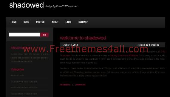 'Free Shadowed Black Red CSS Website Template