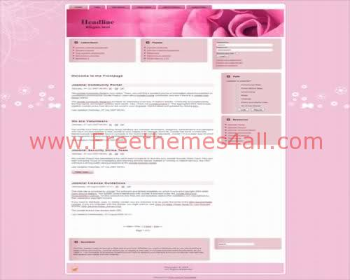 Free Pretty Rose Pink Joomla Theme Template