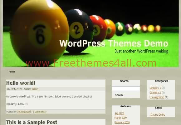 Free WordPress Sports Pool Billard Web2.0 Theme
