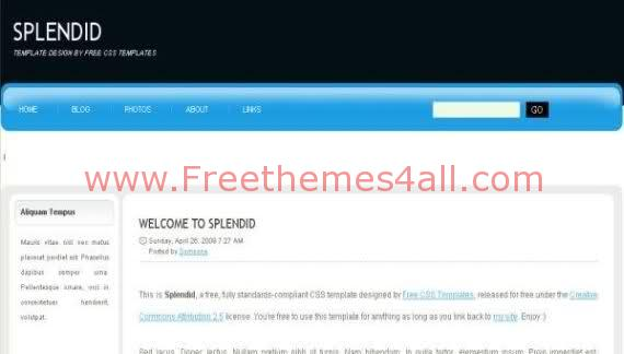 Free Css Blue White Splendid Template Download