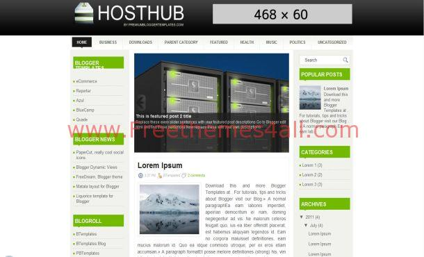 Free Hosting Business Jquery Blogger Template