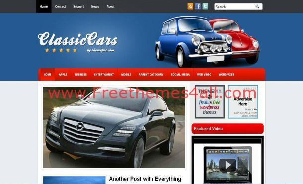 Blue Classic Car Wordpress Theme Template Download - Classic car websites