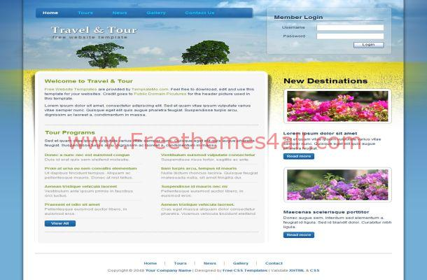 Free HTML Travel Tour Blue CSS Website Template