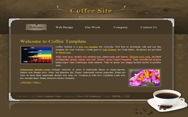 Brown Floral Coffee CSS Template
