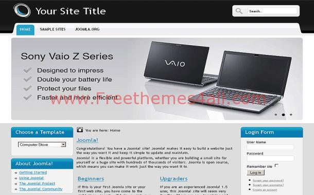 Free Black Gray Computers Joomla Theme Template