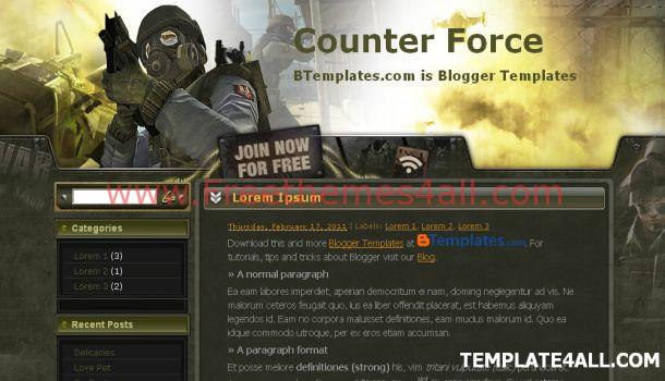 Blogger Counter Force Games Template